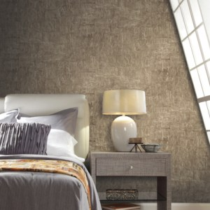 83616 York Wallcoverings Urban Oasis Brushstrokes Wallpaper Brown Room Setting