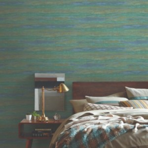 83639 York Wallcoverings Urban Oasis Painterly Wallpaper Blue Green Room Setting