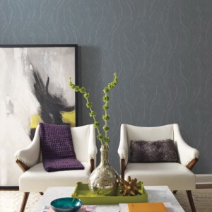 83656 York Wallcoverings Urban Oasis Upstream Wallpaper Charcoal Room Setting
