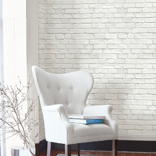 AX10800 Seabrook Wallcoverings NextWall Vintage Brick Peel and Stick Wallpaper White Room Setting