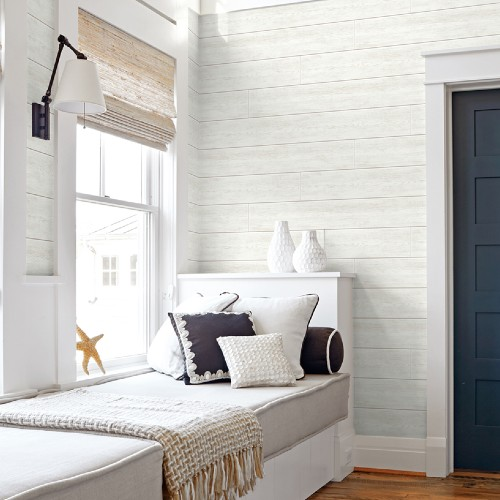 AX10900 Seabrook Wallcoverings NextWall Shiplap Peel and Stick Wallpaper Off-White Room Setting
