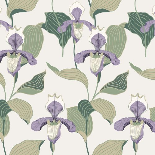 NV5528 York Wallcoverings Modern Heritage: Designed to Inspire 125th Anniversary Edition Lady Slipper Wallpaper Lavender