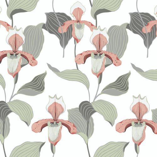NV5529 York Wallcoverings Modern Heritage: Designed to Inspire 125th Anniversary Edition Lady Slipper Wallpaper Peach