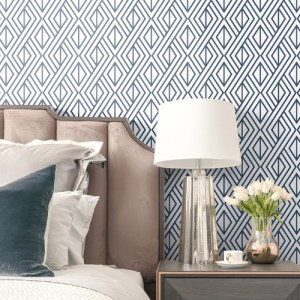 NW30106 Seabrook Wallcoverings NextWall Diamond Geometric Peel and Stick Wallpaper Navy Room Setting