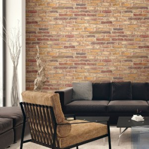 NW30201 Seabrook Wallcoverings NextWall Faux Rustic Brick Peel and Stick Wallpaper Red Room Setting