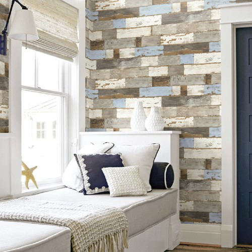 NW30700 Seabrook Wallcoveirngs NextWall Colorful Shiplap Peel and Stick Wallpaper Room Setting