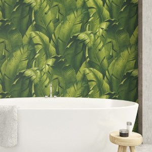 NW31000 Seabrook Wallcoverings NextWall Tropical Banana Leaves Peel and Stick Wallpaper Green Room Setting