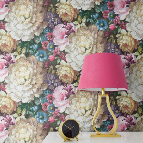 NW32700 Seabrook Wallcoverings NextWall Blooming Floral Peel and Stick Wallpaper Room Close Up