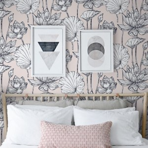 NW33101 Seabrook Wallcoverings NextWall Lotus Floral Peel and Stick Wallpaper Taupe Room Setting