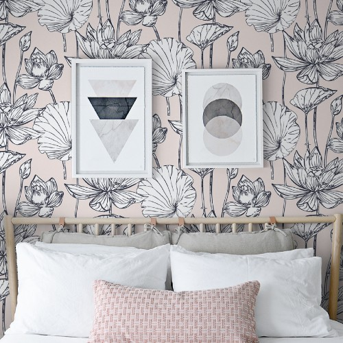Lotus Floral Peel And Stick Wallpaper By Seabrook Lelands Wallpaper