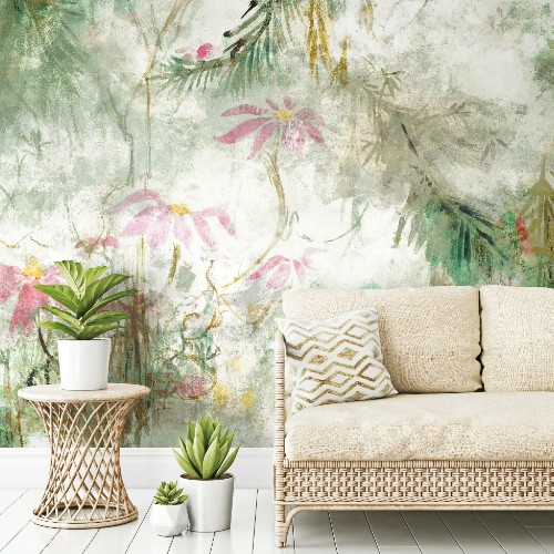 RMK11588M York Wallcoverings RoomMates Jungle Lily Peel and Stick Mural Green Room Setting