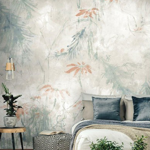RMK11589M York Wallcoverings RoomMates Jungle Lily Peel and Stick Mural Grey Room Setting