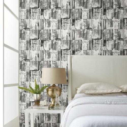 RMK11595RL York Wallcoverings RoomMates Washout Peel and Stick Wallpaper Black Room Setting