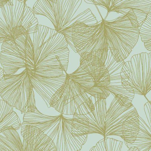RMK11602WP York Wallcoverings RoomMates Gingko Leaves Peel and Stick Wallpaper Gold