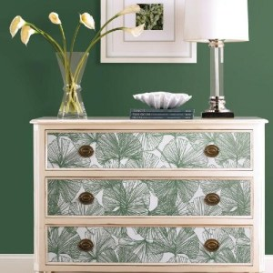 RMK11603WP York Wallcoverings RoomMates Gingko Leaves Peel and Stick Wallpaper Green Furniture Accent