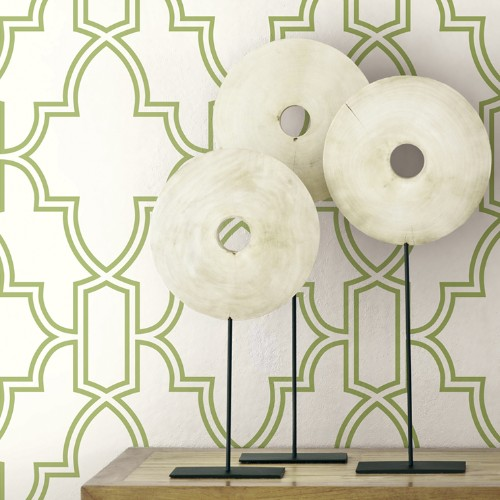 NW31604 Seabrook Wallcoverings NextWall Tile Trellis Peel and Stick Wallpaper Green and White Close Up