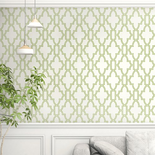 NW31604 Seabrook Wallcoverings NextWall Tile Trellis Peel and Stick Wallpaper Green and White Room Setting