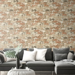 NW32301 Seabrook Wallcovering NextWall Weathered Brick Peel and Stick Wallpaper Red Room Setting