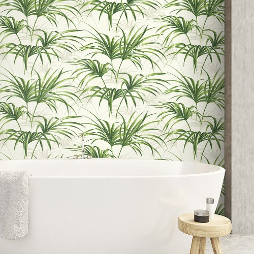 NW32504 NW32504 Seabrook Wallcoverings NextWall Tropical Palm Leaf Peel and Stick Wallpaper Green Room Setting