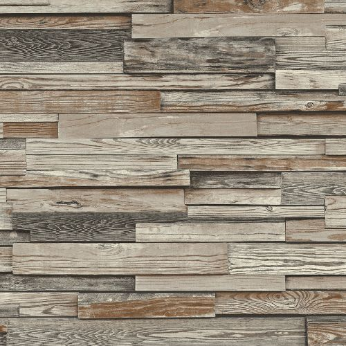 NW32601 Seabrook Wallcoverings NextWall Reclaimed Wood Plank Peel and Stick Wallpaper Grey