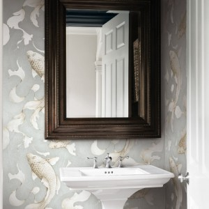 NW33208 Seabrook Wallcoverings NextWall Koi Fish Peel and Stick Wallpaper Grey Room Setting