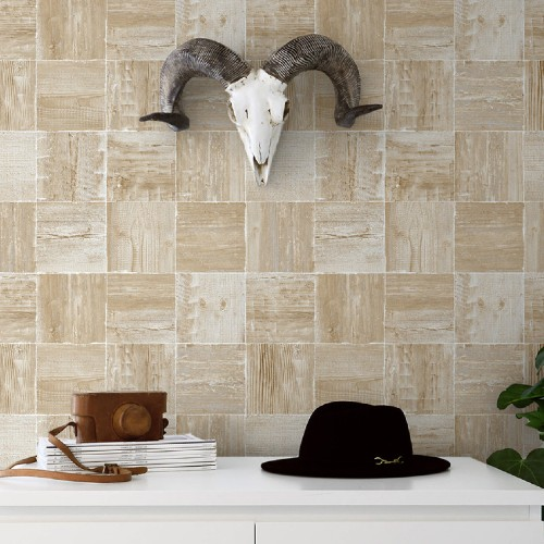 NW33408 Seabrook Wallcoverings NextWall Wood Block Peel and Stick Wallpaper Neutral Room Setting