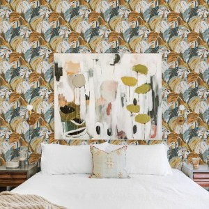 2969-26011 Brewster Wallcoverings A Street Prints Pacifica Samara Monstera Leaf Wallpaper Orange Room Setting