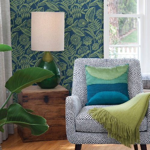 2969-87527 Brewster Wallcoverings A Street Prints Pacifica Alma Tropical Floral Wallpaper Blue Room Setting