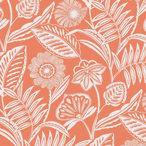 2969-87528 Brewster Wallcoverings A Street Prints Pacifica Alma Tropical Floral Wallpaper Coral