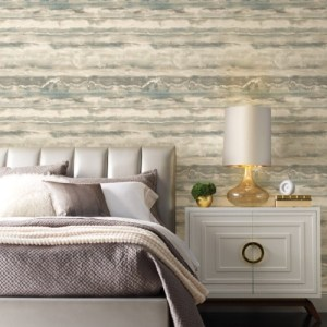 PSW1105RL York Wallcoverings Simply Candice High Tide Peel and Stick Wallpaper Taupe Room Setting