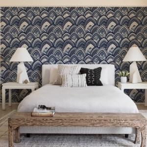 2969-87351 Brewster Wallcoverings A Street Prints Pacifica Cabarita Art Deco Leaves Wallpaper Indigo Room Setting