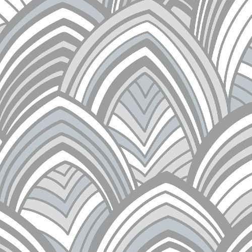 2969-87353 Brewster Wallcoverings A Street Prints Pacifica Cabarita Art Deco Leaves Wallpaper Grey