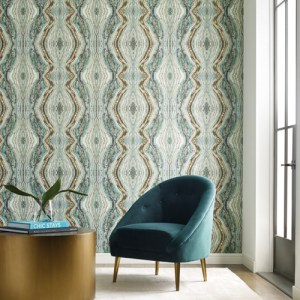 OG0559 York Wallcoverings Antonina Vella Elegant Earth Kaleidoscope Wallpaper Teal Room Setting