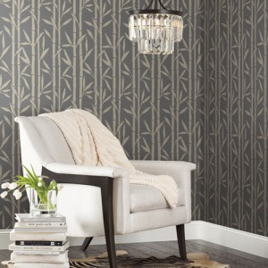 OG0607 York Wallcoverings Antonina Vella Elegant Earth Bamboo Grove Wallpaper Charcoal Room Setting