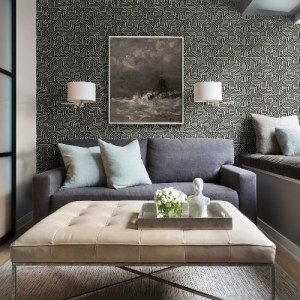 2949-60600 Brewster Wallcoverings A Street Prints Imprint Nambiti Geometric Wallpaper Black Room Setting