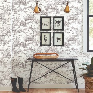 FH4031 York Wallcoverings Simply Farmhouse Pasture Toile Wallpaper Black Room Setting
