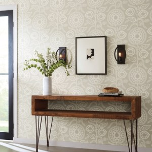 SS2581 York Wallcoverings Silhouettes Pomegranate Bloom Wallpaper Off-White Room Setting