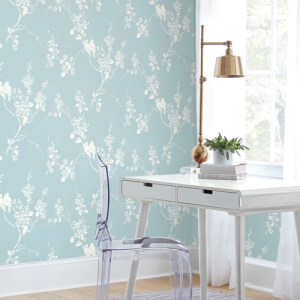SS2593 York Wallcoverings Silhouettes Imperial Blossoms Branch Wallpaper Blue Room Setting