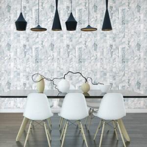 PSW1120RL York Wallcoverings Premium Stonework Marble Plank Peel and Stick Wallpaper Light Blue Room Setting