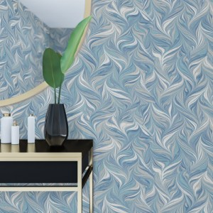 PSW1128RL York Wallcoverings Premium Stonework Ebru Swirls Peel and Stick Wallpaper Blue Room Setting