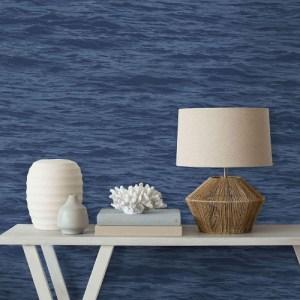 NW35902 NextWall Serene Sea Peel and Stick Wallpaper Denim Blue Room Setting