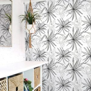 NW36300 NextWall Spider Plants Peel and Stick Wallpaper Grayscale Room Setting