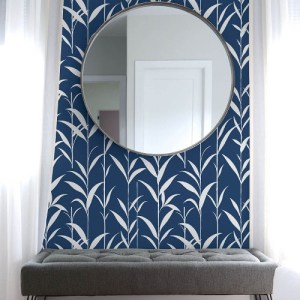 NW36402 NextWall Bamboo Leaves Peel and Stick Wallpaper Navy Room Setting