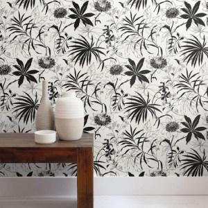 NW37300 NextWall Tropical Garden Peel and Stick Wallpaper Black Room Setting