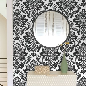 NW37400 NextWall Damask Peel and Stick Wallpaper Black Room Setting