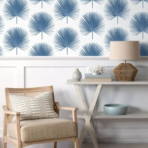 NW37502 NextWall Palmetto Palm Peel and Stick Wallpaper Coastal Blue Room Setting