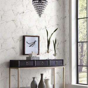 PSW1130RL York Wallcoverings Premium Stonework Palace Marble Peel and Stick Wallpaper White Room Setting