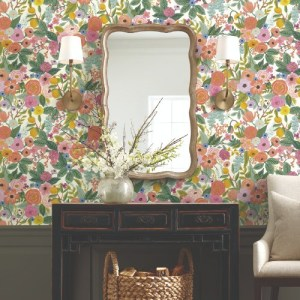 PSW1200RL Rifle Garden Party Peel and Stick Wallpaper Pink Room Setting