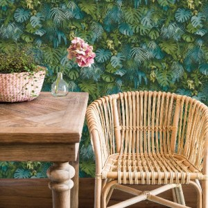 2979-37280-3 Brewster Wallcoverings Bali Luana Tropical Forest Wallpaper Blue Room Setting