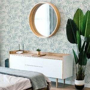2979-37335-1 Brewster Wallcoverings Bali Lani Fronds Wallpaper Blue Room Setting